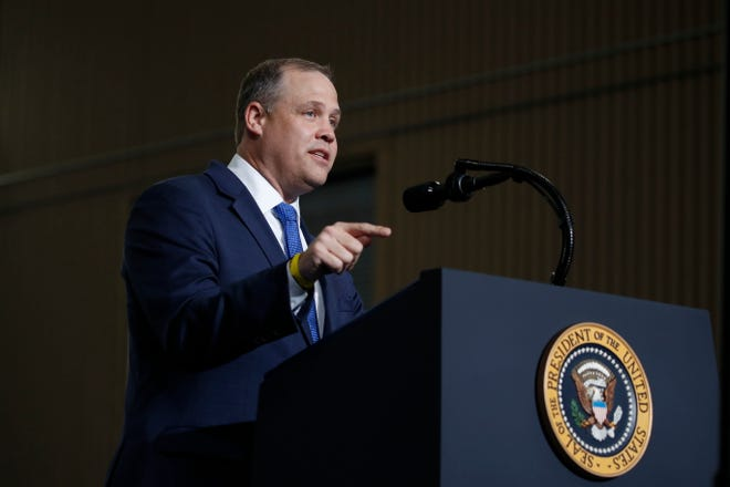 NASA Administrator Jim Bridenstine speaks at the Vehicle Assembly Building on Saturday, May 23, 2020, at NASA's Kennedy Space Center in Cape Canaveral, Fla. A rocket ship designed and built by SpaceX lifted off on Saturday with two Americans on a history-making flight to the International Space Station.