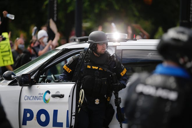 Police in Downtown Cincinnati.