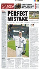 Detroit Free Press sports front page on June 3, 2010.