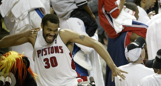 Pisthe 'Rasheed Wallace celebrates the 69-65 victory over the Indiana Pacers in race 6 of the Eastern Conference finals on Tuesday 1 June 2004 at the Palace of Auburn Hills.