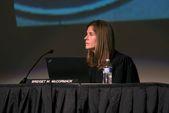 Justice Bridget McCormack asks a question during the oral arguments for the People v Elisah Kyle Thomas case on Wednesday, Oct. 25, 2017, at Cass Technical High School in Detroit.