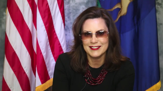 """Michigan Gov. Gretchen Whitmer wears a pair of Cartier C Décor sunglasses — or """"Buffs"""" — in a segment taped for the City of Detroit's Everybody vs. COVID-19 festival aired May 29, 2020."""