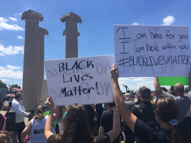 Hundreds gathered at an anti-violence protest in Evansville Saturday, May 30, 2020.