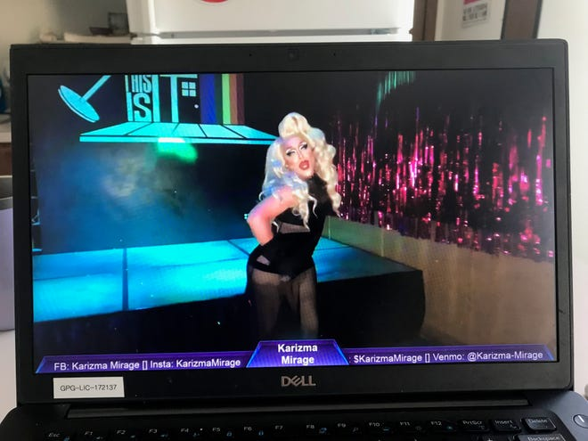 Karizma Mirage performs in a virtual drag-a-thon hosted by This Is It, a gay nightclub in Milwaukee.