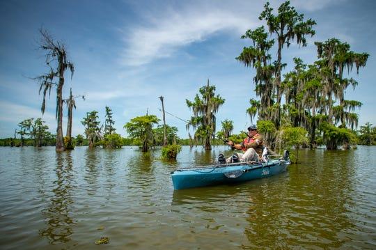 Douglas Menefee kayak fishing at Lake Martin. Friday, May 29, 2020.
