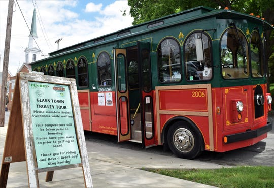 A sign indicates the guidelines for riders taking the Glass Town Trolley Tour Saturday, May 30. The tour started at the main branch of the Fairfield County District Library and visited numerous sites in Lancaster with historical meaning.