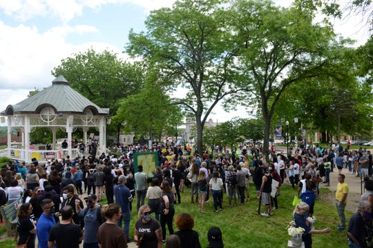 Hundreds gathered in Central Park to show solidarity with George Floyd and protest police brutality.