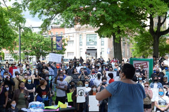 Hundreds of demonstrators gathered Saturday in Mansfield's Central Park to protest the death of an African-American man in police custody and other recent killings of unarmed black people. A protest is scheduled in downtown Bucyrus on Saturday.