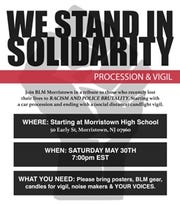 Black Lives Matter Morristown to host a procession and vigil on Saturday for George Floyd and others who have lost their lives to racism and police brutality.