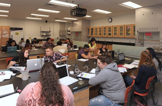 NMSU biology undergraduate students work together in the Howard Hughes Medical Institute lab located in Foster Hall in February of 2016.