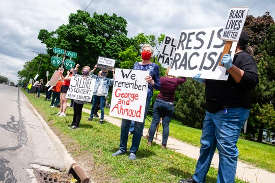 A small group of residents held a peaceful Black Lives Matter protest, unsanctioned by the BLM Port Huron chapter, on Saturday, May 30, 2020, in Pine Grove Park in Port Huron. It was held as protests broke out across the country several days after the death of George Floyd in Minneapolis.