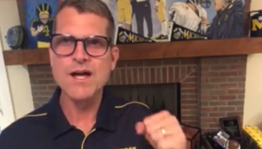 University of Michigan football coach Jim Harbaugh sent a video clip to the Lakeview Class of 2020 on Sunday, which would have been graduation day for the Spartans.