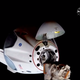 SpaceX Crew Dragon capsule is seen just a few meters from its docking port at the International Space Station on Sunday, May 31, 2020.