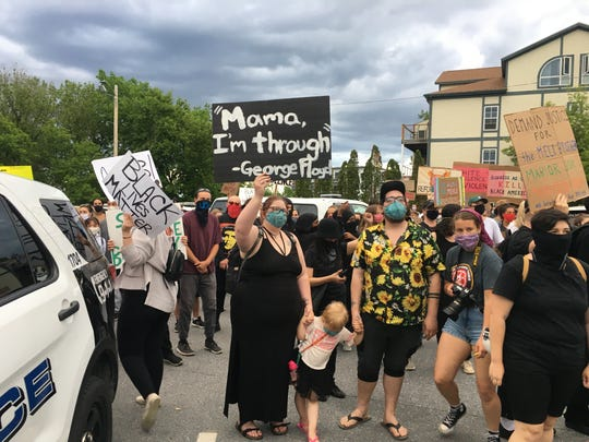 """The """"Protest for George Floyd!"""" filled Battery Park, and then during a march spilled onto North Avenue and the parking lot at the Burlington Police Department."""