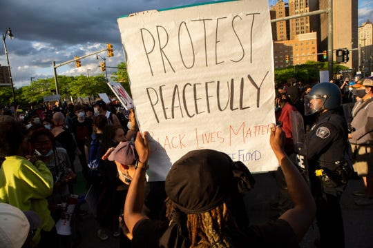Protesters in downtown march towards downtown for a second night of protests in Detroit. A peaceful protest is planned for Monday afternoon in downtown Wichita Falls.
