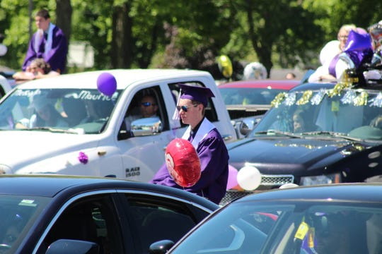 Fremont Ross High School celebrates its 2020 commencement ceremony at Grace Community Church on Smith Road. Due to the pandemic, the ceremony was held Sunday in the church's back parking lot after a parade through the city.