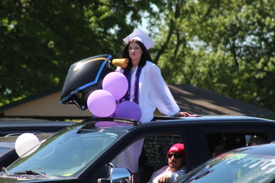 Fremont Ross High School celebrates its 2020 commencement ceremony Sunday at Grace Community Church's back parking lot. 243 Ross graduates received their diplomas.