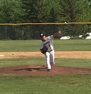 Great Falls Chargers lefty Hunter Houck warms up in the top of the fourth in the Chargers' home opener against Lewistown Saturday. Houck struck out five in five shutout innings, but drew a no-decision as the Chargers fell to the Redbirds 10-8.