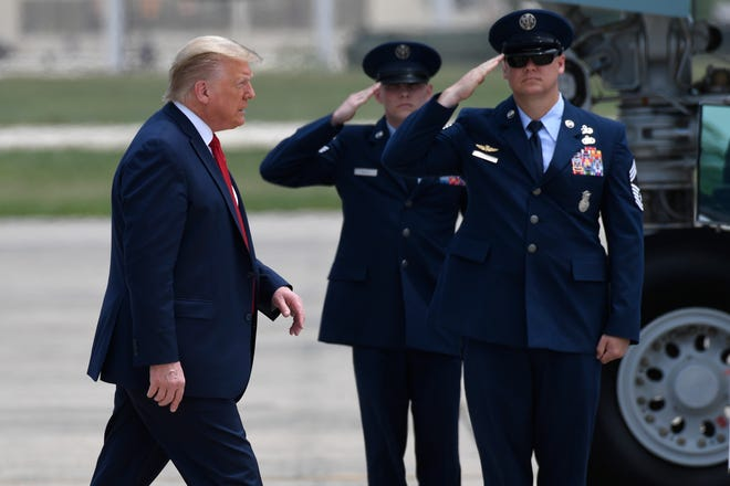 President Donald Trump walks towards Air Force One at Andrews Air Force Base in Md., Saturday, May 30, 2020.