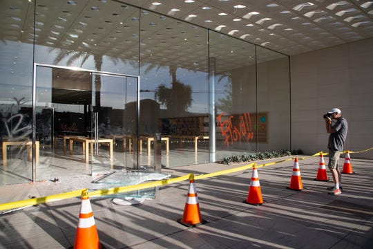 Property damage from overnight vandalism and looting at the Apple Store at Scottsdale Fashion Square on May 31, 2020.