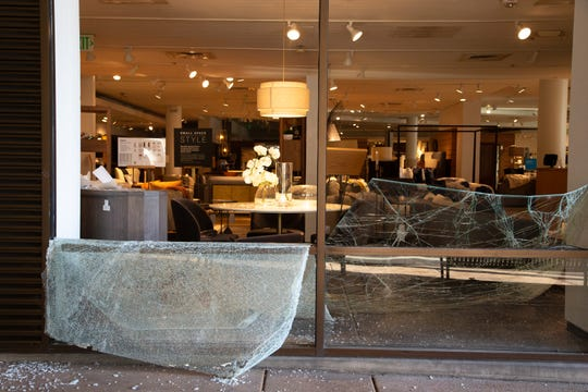 Property damage from overnight vandalism and looting at Crate & Barrel on May 31, 2020, in Scottsdale.