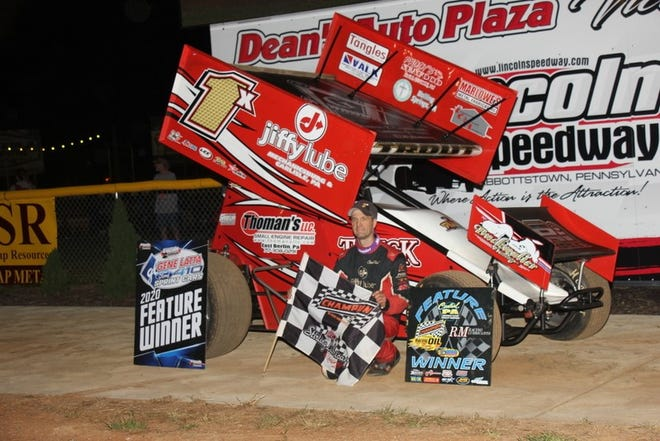 Chad Trout is shown Saturday night after winning the 410 sprint feature at Lincoln Speedway, earning $4,000.