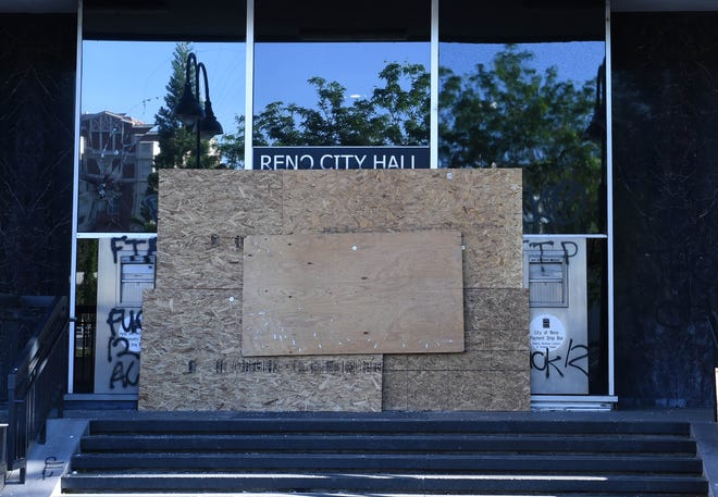 Reno City Hall was vandalized during Saturday night's protest in Downtown Reno.