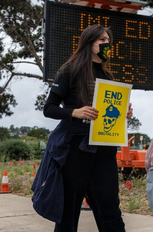 """Hundreds gathered in Monterey, Calif, in solidarity during a """"Call for Justice"""" demonstration after the murder of George Floyd at the hands of a police officer on Saturday, May 30, 2020."""