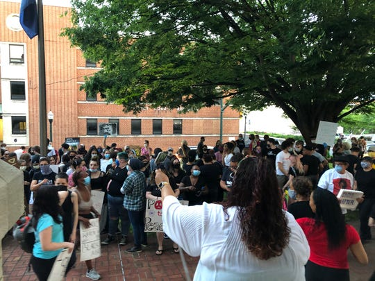 Rally goers gather at the Augusta County courthouse in Staunton.