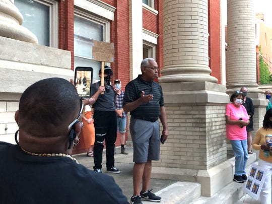 Outgoing city council member and Vice Mayor Ophie Kier spoke to a crowd in Staunton at a rally for George Floyd, a black man who died in Minneapolis after a white police officer pressed his knee into Floyd's neck for nearly nine minutes.