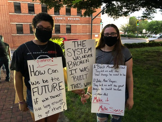 Ciara Brown, left, and Alexis Fix were part of the protestors in Staunton Saturday at the rally for George Floyd.