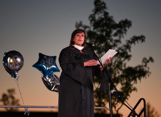 Sartell High School principal Brenda Steve speaks to the Class of 2020 Saturday, May 30, 2020, at Sartell High School.