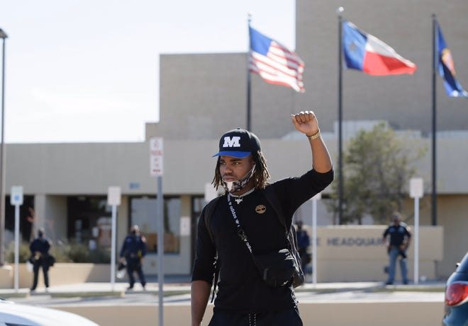 Juan Garth arrives early at the George Floyd protest outside El Paso police headquarters.