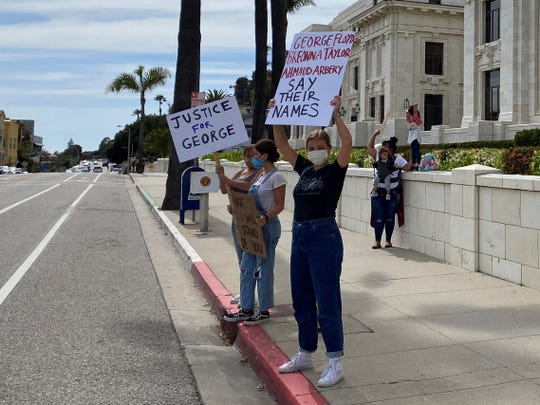 Paige Kelly, 23, a recent nursing school graduate, organized a peaceful protest in front of Ventura City Hall on May 30, 2020 to protest the death of George Floyd.