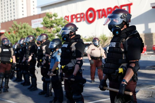 Minnesota State Police in front of a Target Store on May 28, 2020, in St. Paul, Minn.
