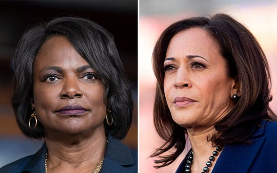 From left, Val Demings and Kamala Harris