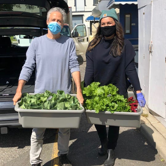 """Former """"Daily Show"""" host Jon Stewart and his wife, Tracey, donate Hockhockson Farm Foundation's first harvest to Lunch Break in Red Bank."""