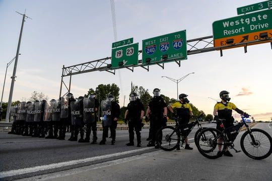 Hundreds crossed the Bowen Bridge to protest the death of George Floyd in Asheville May 31, 2020.