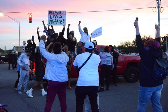 Protesters took control of the intersection of Hamblin Avenue and Division Street Sunday night.