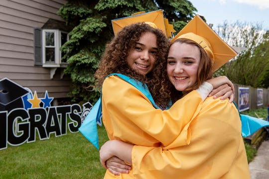 Battle Creek Central seniors Kandis Orns and Maddi Mahar pose for a portrait on Friday, May 29, 2020 at their home in Battle Creek, Mich. Orns and Mahar became friends in Jr. High playing basketball, and they spent their senior year living together.