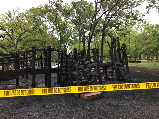 The playground at Recreation Park in Binghamton on Monday, June 1, 2020 after an overnight fire.