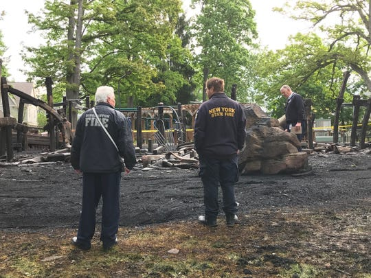 Fire authorities were at the Playground at Recreation Park in Binghamton early Monday morning, June 1, 2020, after an overnight blaze.