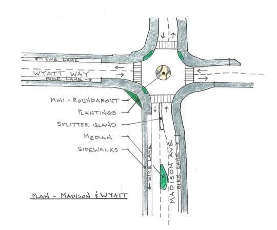 An illustration of the upcoming changes to the Wyatt Way-Madison Avenue intersection.