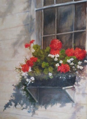 """""""Boothbay in Bloom"""" is one of the works by Barbara Smythers on display at Eau Gallery through June 30."""
