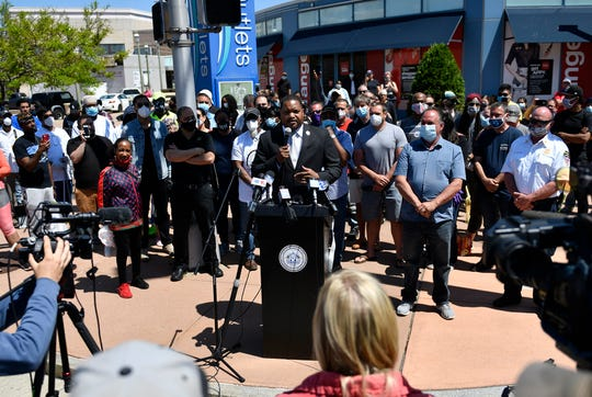 Atlantic City Mayor Marty Small holds a press conference Monday at Tanger Outlets to address Sunday's George Floyd protest. June, 1, 2020.