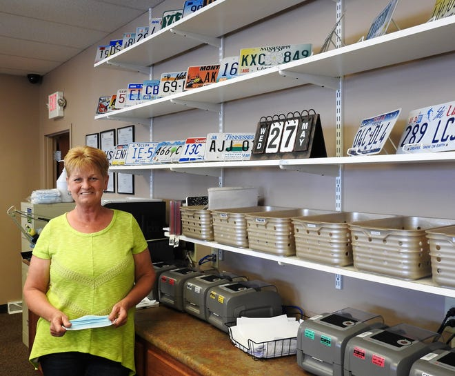 Jean Taylor, Deputy Registrar of Coshocton County, will be retiring on June 27 after about 43 years with the local Bureau of Motor Vehicles. Many customers have been nice over the years, such as bringing in licenses plates from abroad for display. The office has a plate from all 50 states and some foreign countries.