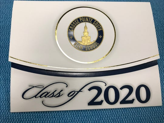 Photo shows engraved commencement invitation for graduates of Grosse Pointe South High School.