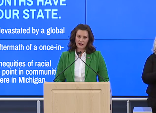 Gov. Gretchen Whitmer hosts a live news conference on June 1, 2020.