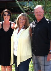 Former MLB umpire Jim Joyce, from right, with his wife, Kay, and Jane Powers, whom he performed life-saving CPR on in August 2012.
