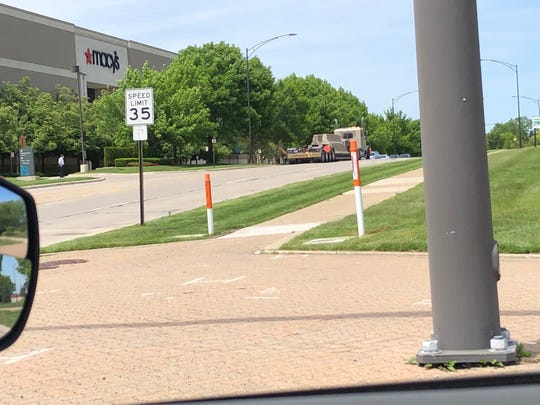 The Somerset Collection in Troy has some concrete barriers on a truck in front of Macy's on Monday June 1, as a 5 p.m. protest is planned in Troy.